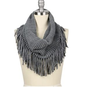 Grey Rib Knit Fringed Infinity Winter Scarf
